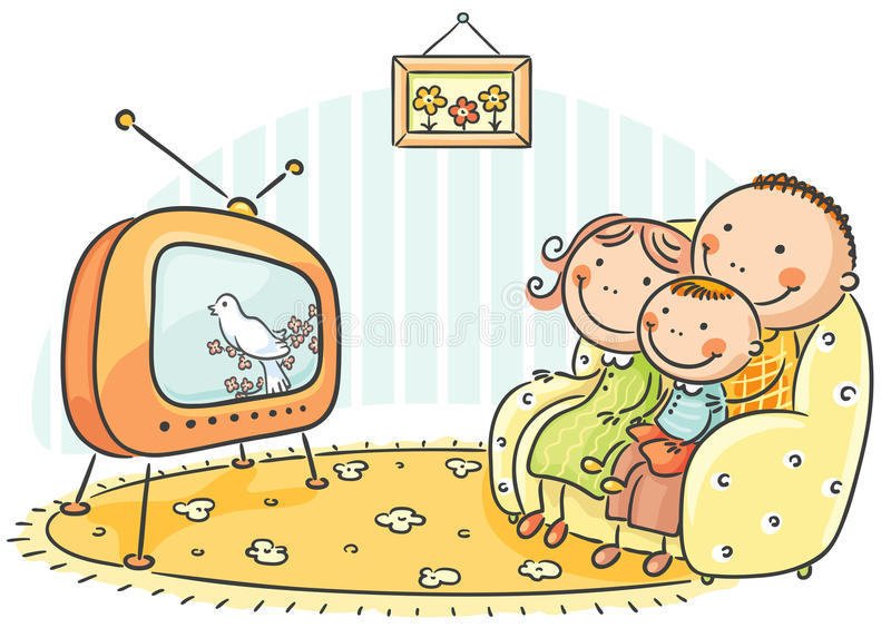 Family watching TV together stock illustration