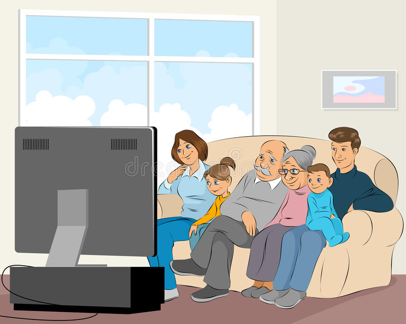 Family watching TV royalty free illustration