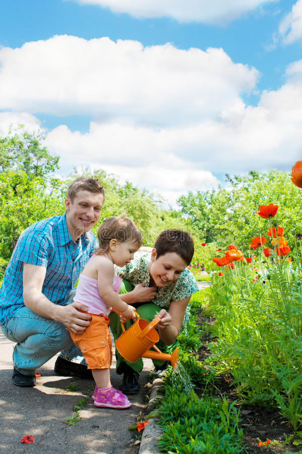 Download Family watering flowers stock photo. Image of gardening - 9764236