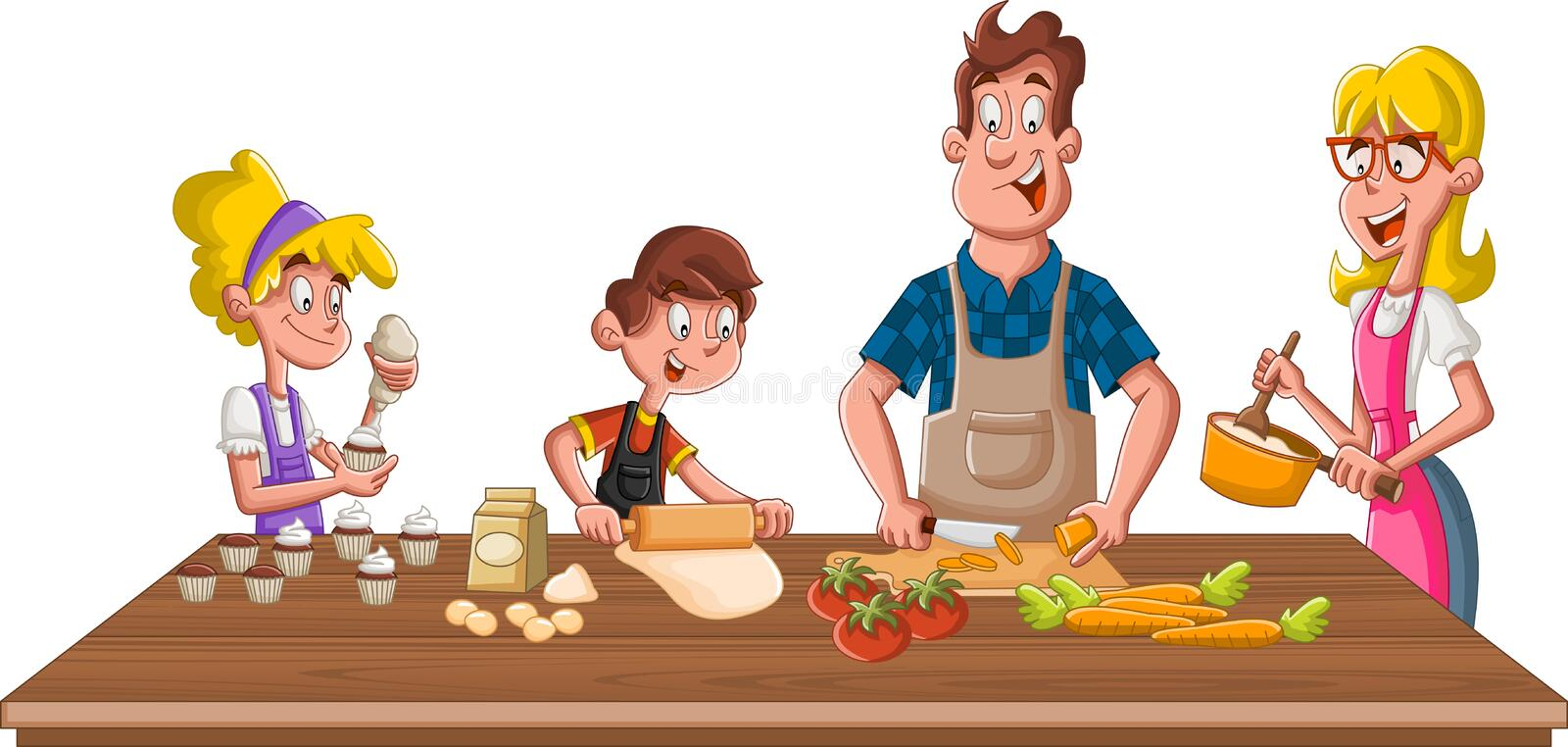Family Cooking Stock Illustrations – 4,512 Family Cooking ...