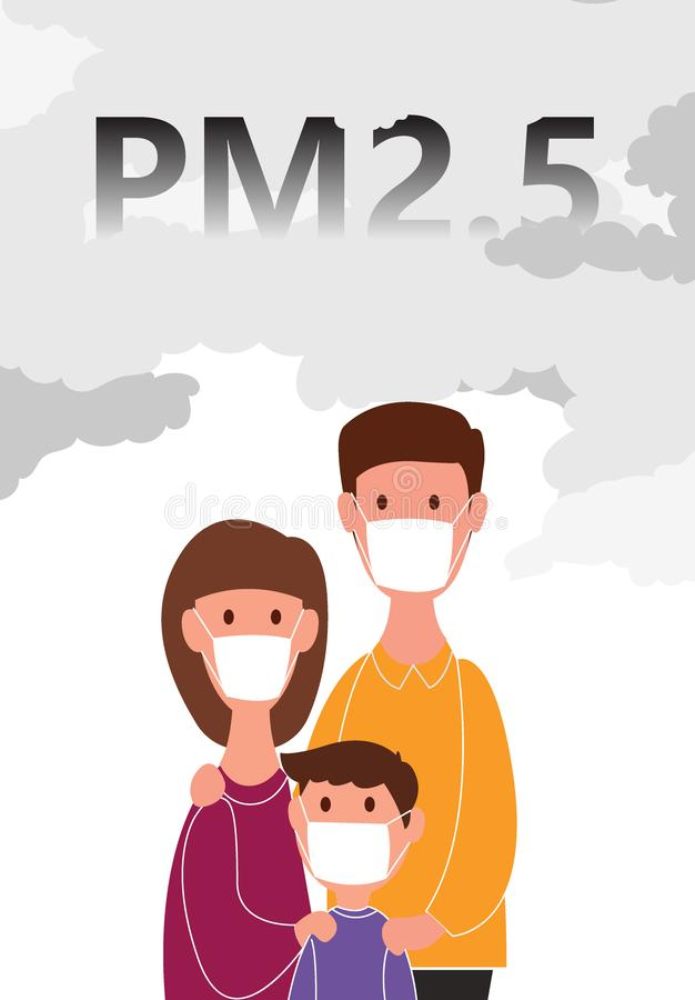 Family wearing a dust mask N95 for protection. Minute dust PM2.5 on white background with concepts. vector illustration stock illustration