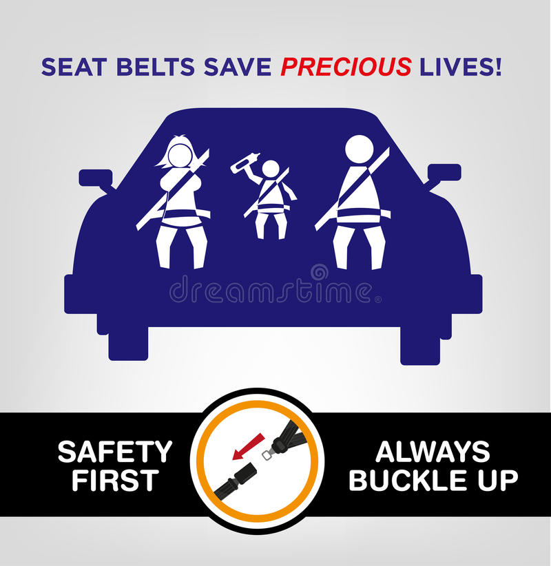 Family Wearing Seat Bealts While On The Car Road Safety