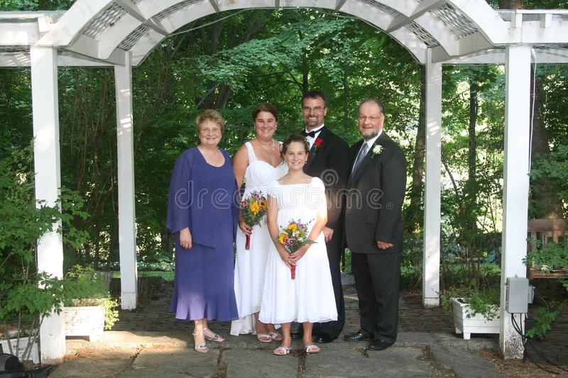Family at wedding. A family portrait at a wedding royalty free stock photos