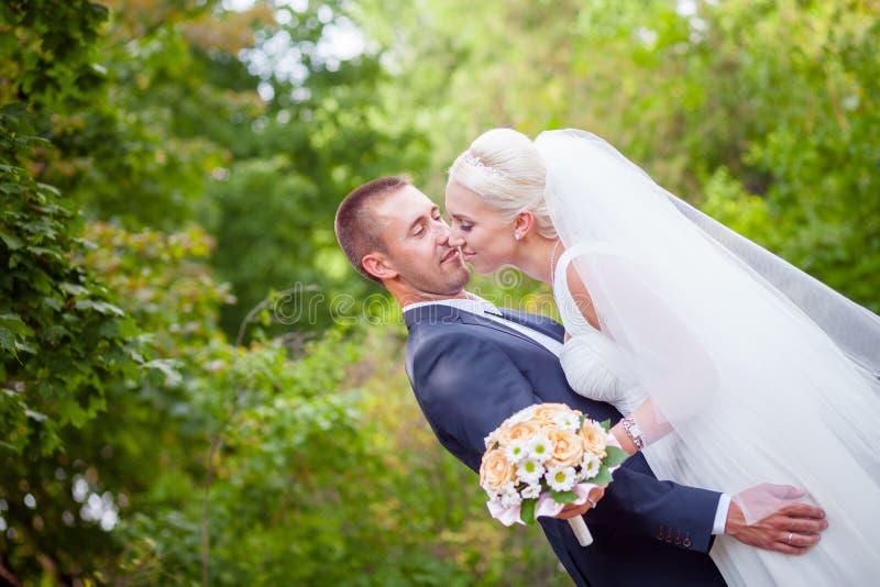 Family wedding portrait. On green background park stock photo