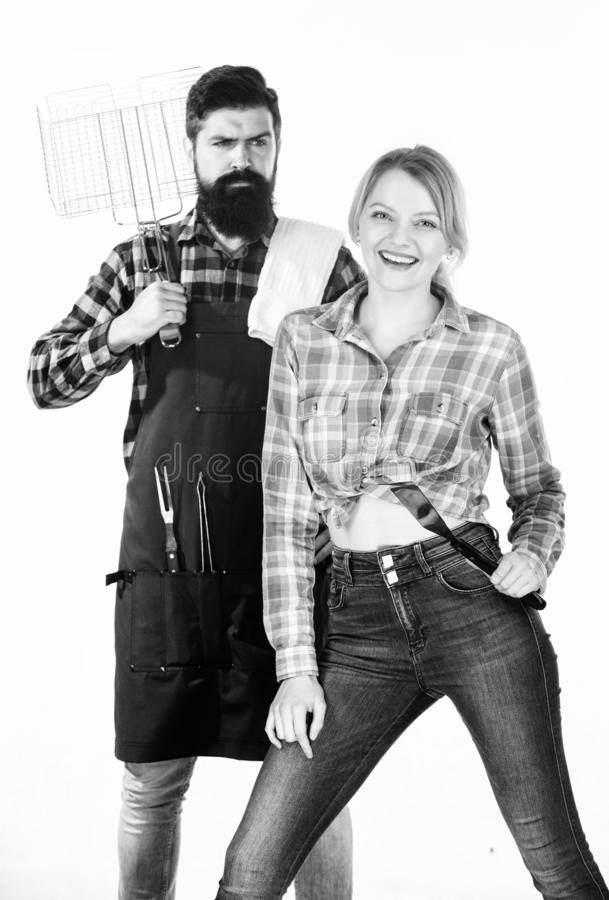 Family weekend. Sharing good time. Picnic barbecue. food cooking recipe. Tools for roasting meat. Couple in love hold royalty free stock photos