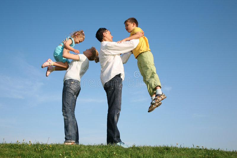 Family wih children stock image