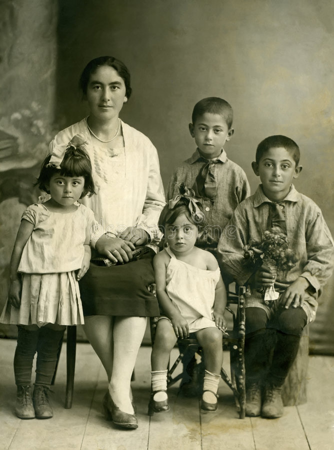 Family.Wintage portret. stock foto