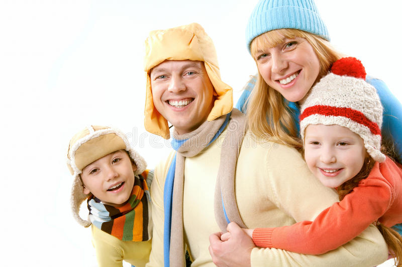 Family in winter royalty free stock image