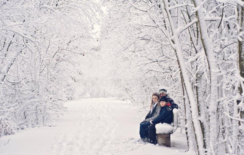 Family winter fun. Family, children with dad, winter fun - park stock photo