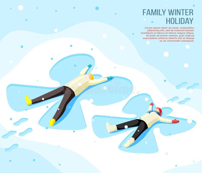 Family Winter Holiday Isometric Background stock illustration