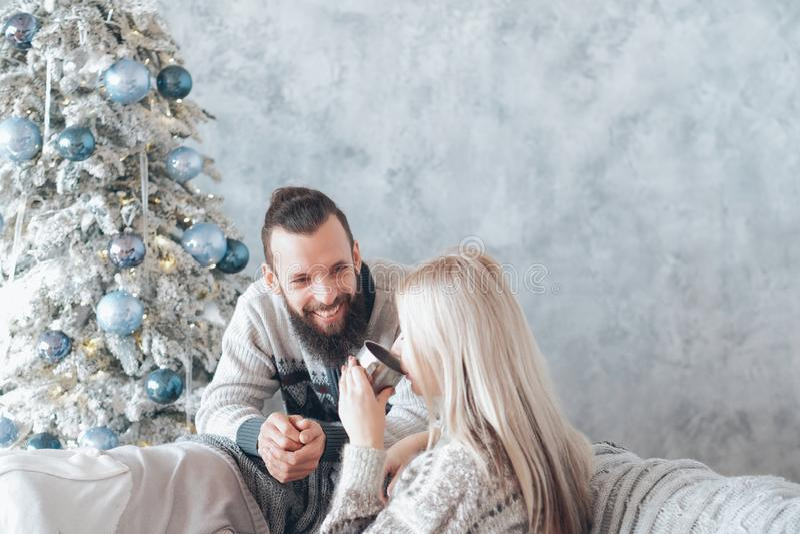 Family winter holidays happy couple conversation stock photos