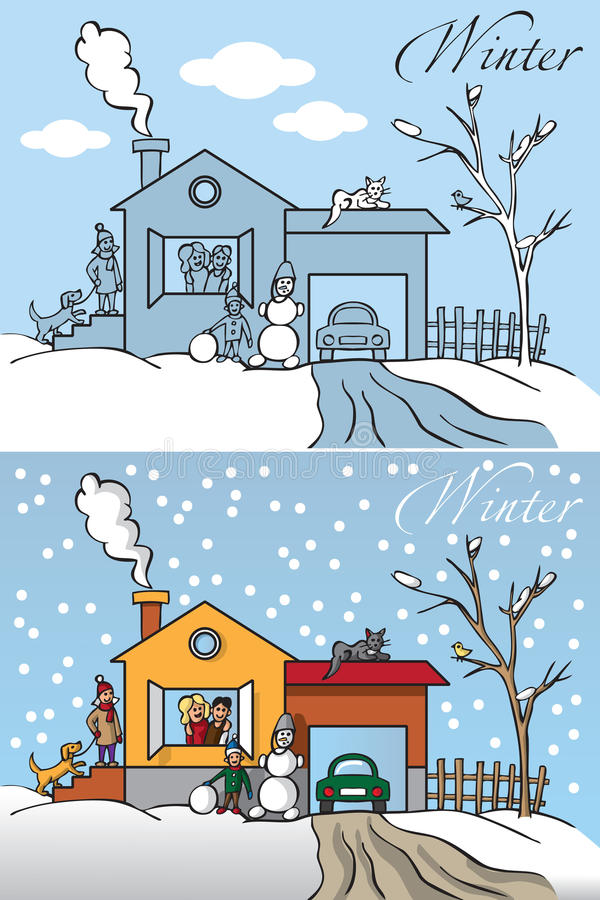 Family winter house stock illustration
