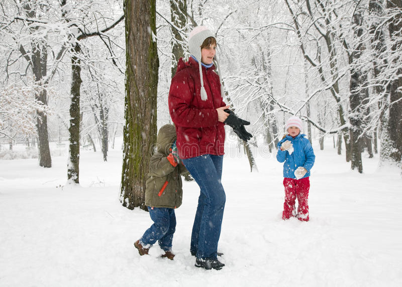 Download Family in winter park stock photo. Image of season, children - 11060692