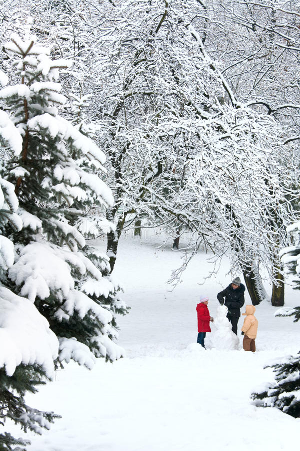 Download Family in winter park stock photo. Image of snow, spruce - 16046894