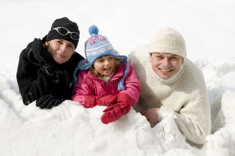 Family winter portrait royalty free stock photos
