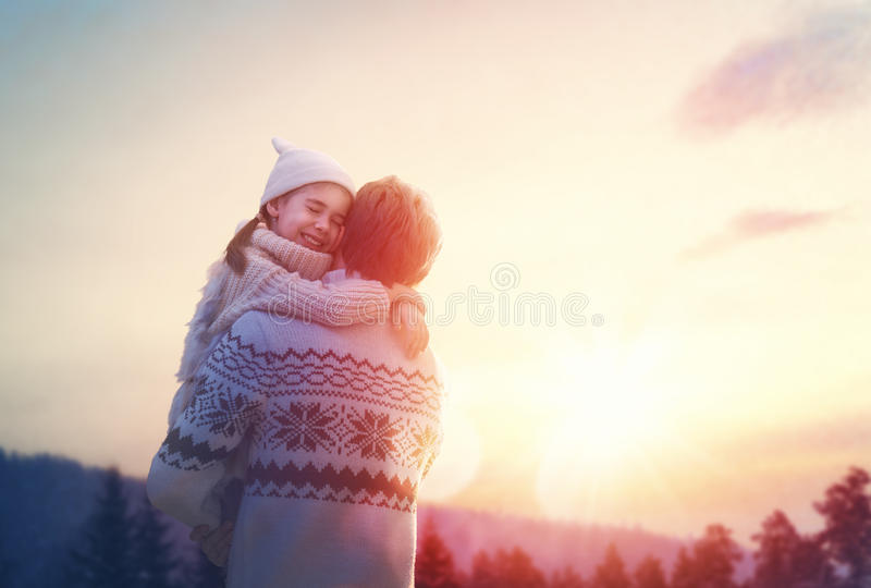Family and winter season royalty free stock image
