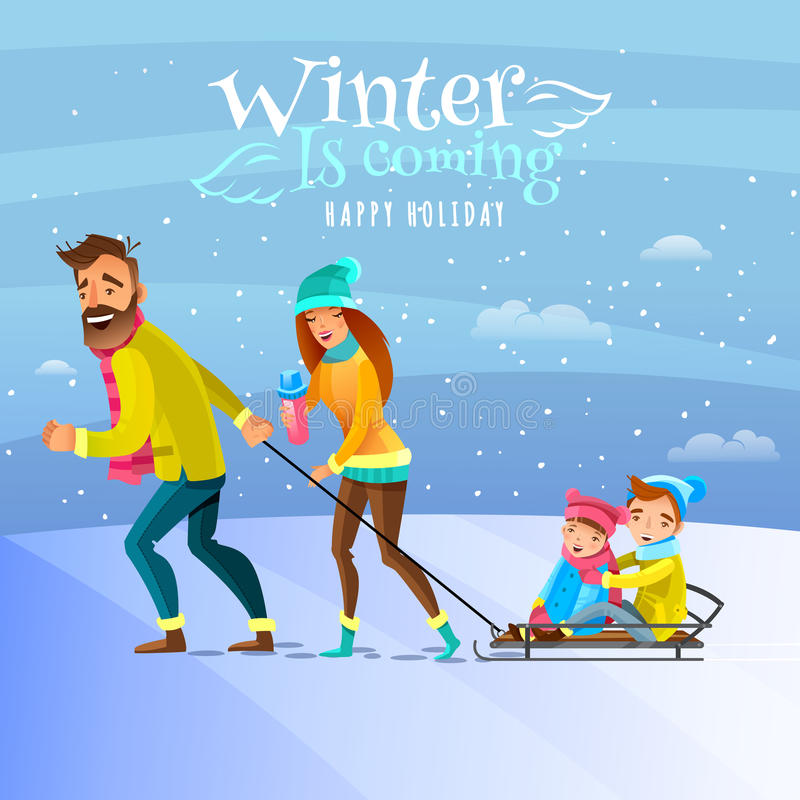 Family In Winter Season Illustration. Happy family spending winter heason holidays outside and tobogganing with kids cartoon vector illustration vector illustration