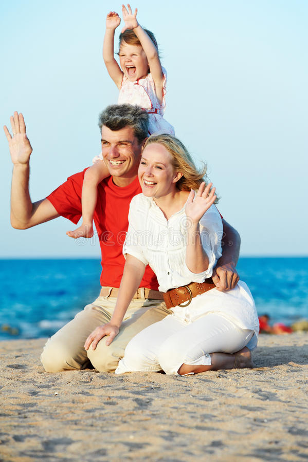 Free Family With Child At Sea Beach Royalty Free Stock Photo - 22413225