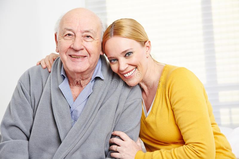 Family with woman and senior man stock photo
