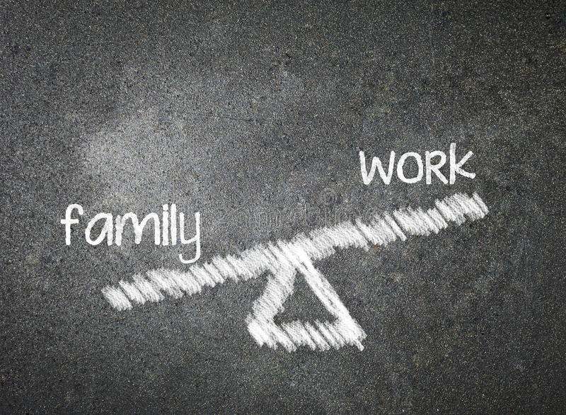 family and work of your choice written with white chalk on a blackboard royalty free stock image