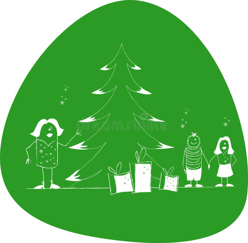 Family xmas. Happy family with decorated Christmas tree. Childs with gifts royalty free illustration