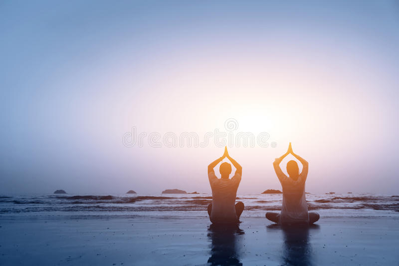 Family yoga stock photography