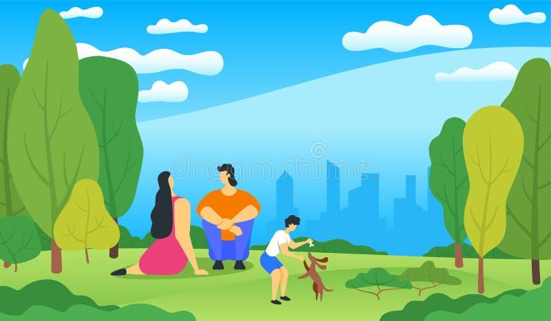 Familyrelaxing在城市公园 皇族释放例证