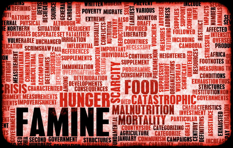 Famine. And Death Global Warming as Concept stock illustration
