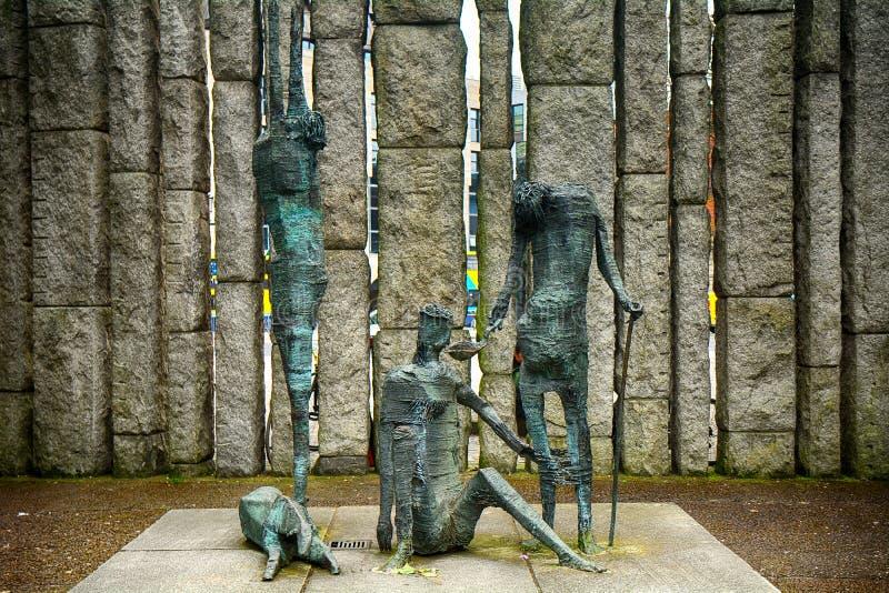 The Famine Memorial in St. Stephen`s Green, Dublin, Ireland stock images