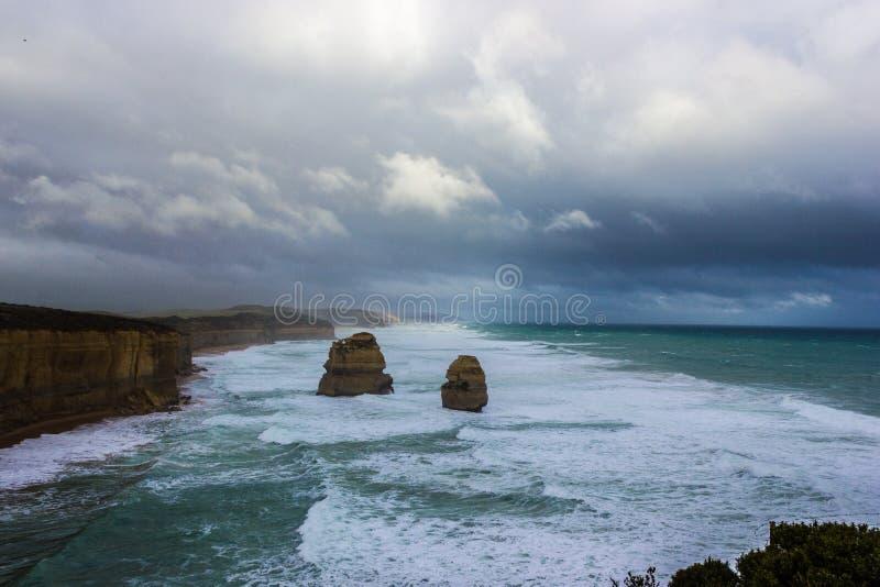 2 famosi dei 12 Apostel, Victoria, i dodici apostoli, grande strada dell'oceano, Victoria fotografia stock libera da diritti