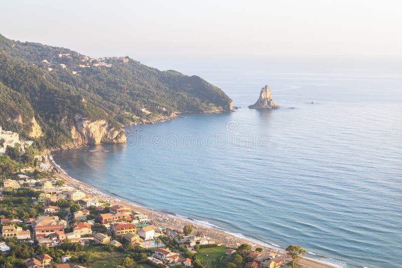 Agios Gordios beach, Corfu island, Greece. Famous Agios Gordios beach at Corfu island in Greece stock photos