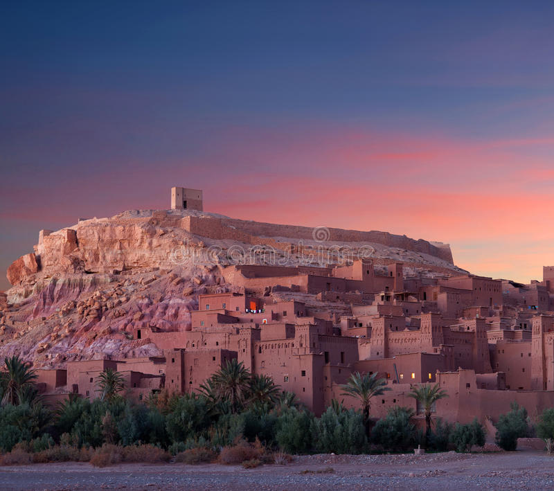 Famous Ait Benhaddou Casbah near Ouarzazate city in Morocco. Ait Benhaddou is a fortified city, or palace (ksar), along the former caravan route between the royalty free stock photography