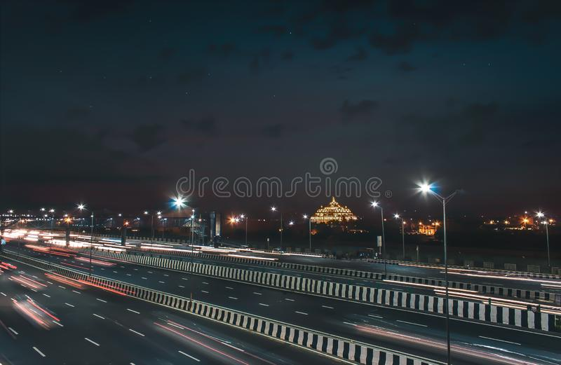 The famous Akshardham temple during night. Cityscape, delhi, tourism, evening, structure, detail, facade, religious, indian, culture, carved, design, largest stock image