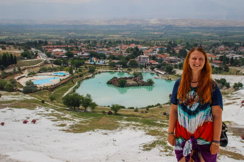 Famous and amazing thermal springs Pamukkale or Cotton Castle on Denizli Province in in Turkey royalty free stock photos