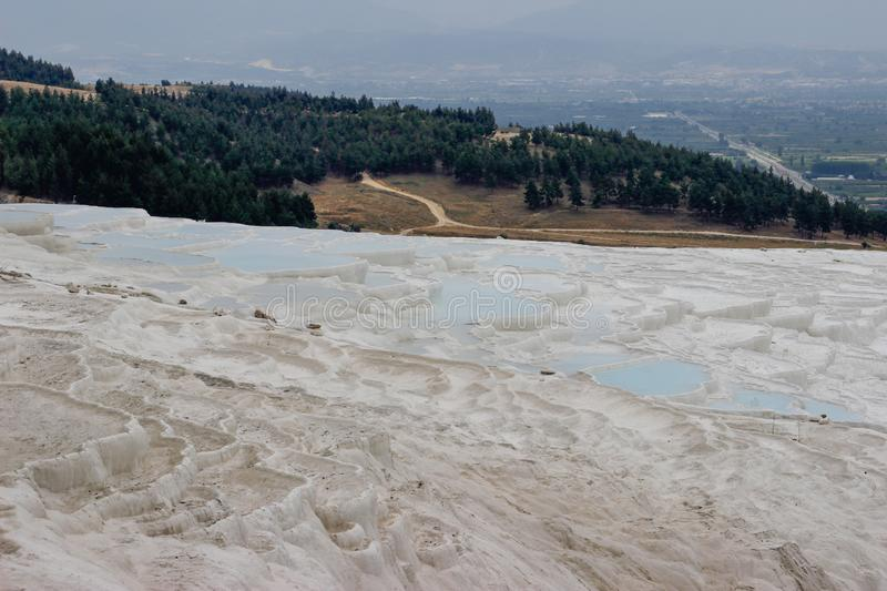 Famous and amazing thermal springs Pamukkale or Cotton Castle in Denizli Province in Turkey. royalty free stock images