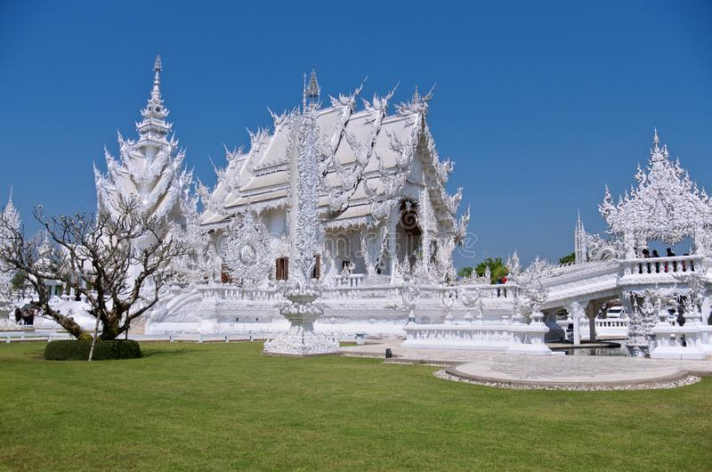 The famous amazing White Buddhist temple with extraordinary architecture with mirror mosaic royalty free stock photography