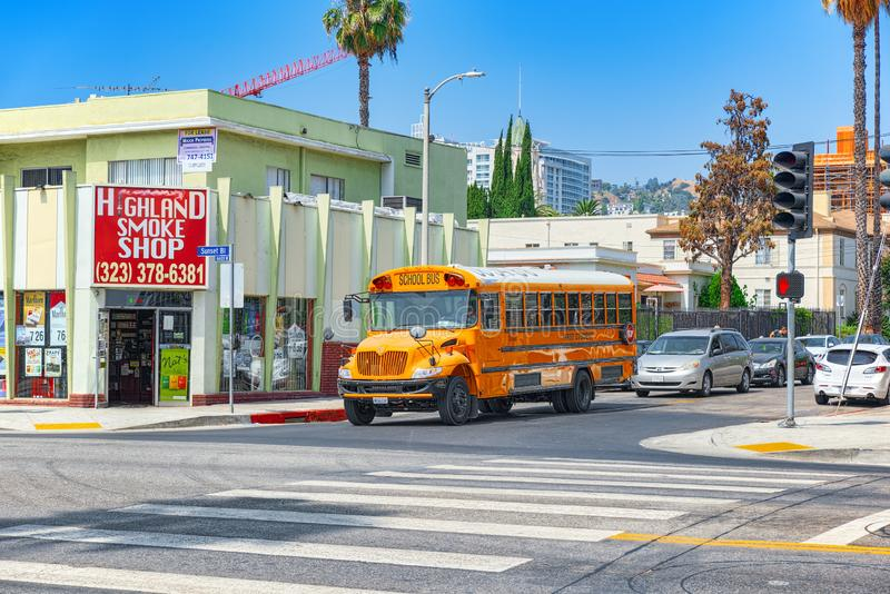 Famous American yellow school buses on the streets. Los Angelos, California, USA - September 04, 2018:Famous American yellow school buses on the streets royalty free stock photos