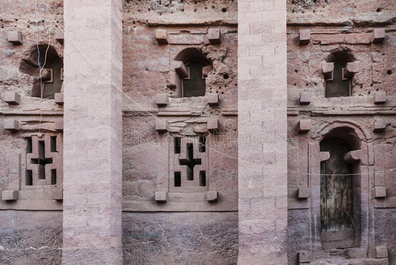 Famous ancient orthodox rock hewn churches of lalibela ethiopia stock image