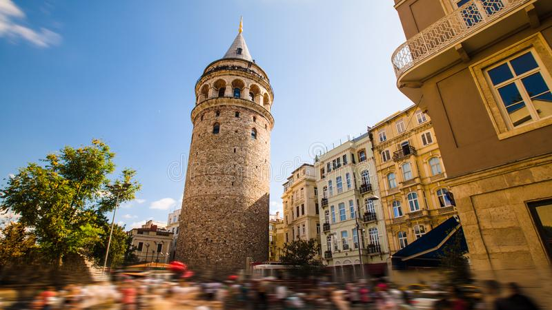 Famous tourist place Galata tower in Istanbul in Turkey. Famous ancient tourist place Galata tower in Istanbul in Turkey royalty free stock photo