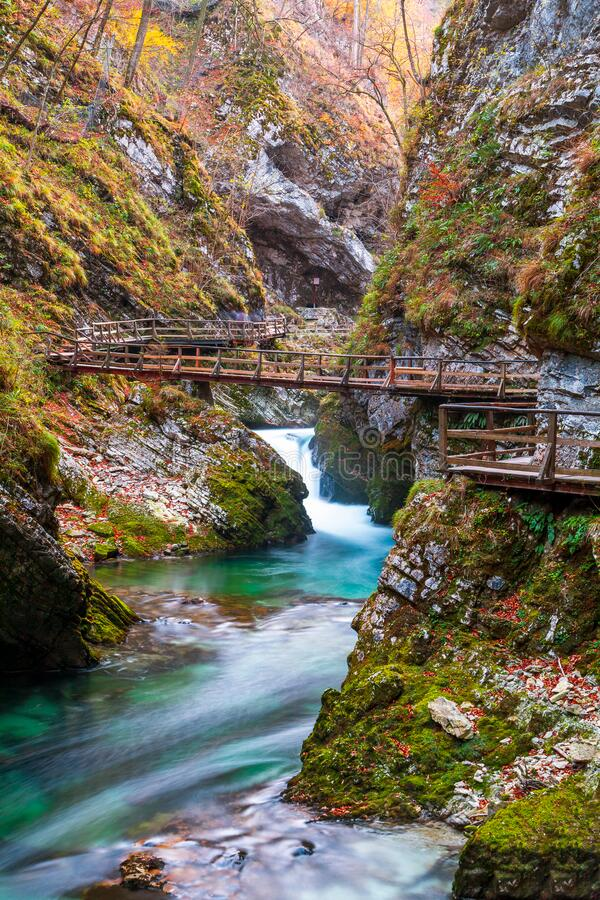 Free Famous And Beloved Vintgar Gorge Canyon With Wooden Path In Beautiful Autumn Colors Near Bled Lake Of Triglav National Park Royalty Free Stock Photography - 209685677