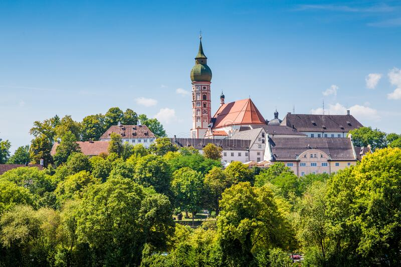 Famous Andechs Abbey in summer, district of Starnberg, Upper Bavaria, Germany royalty free stock photography