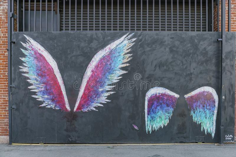 The famous angel wings in Art District CO-OP. Los Angeles, MAR 3: The famous angel wings in Art District CO-OP on MAR 3, 2018 at Los Angeles royalty free stock images