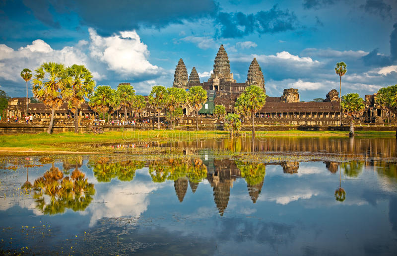 Famous Angkor Wat temple complex, Cambodia. Famous Angkor Wat temple complex in sunset, near Siem Reap, Cambodia.Panoramic view royalty free stock photo