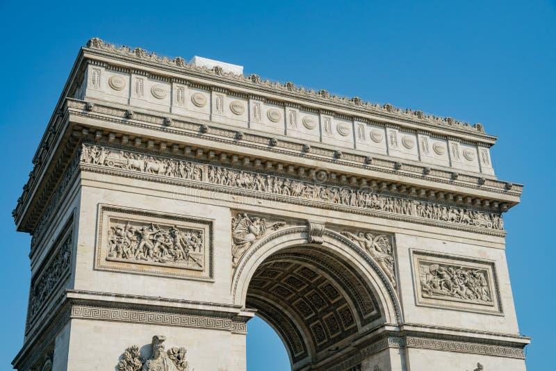 The famous Arc de Triomphe at Paris. France stock images