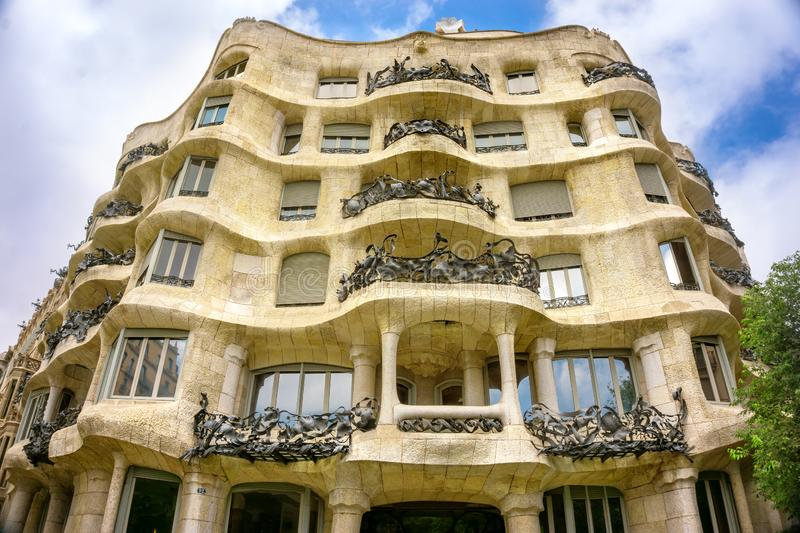 Famous Architecture in Barcelona made by Gaudi royalty free stock image