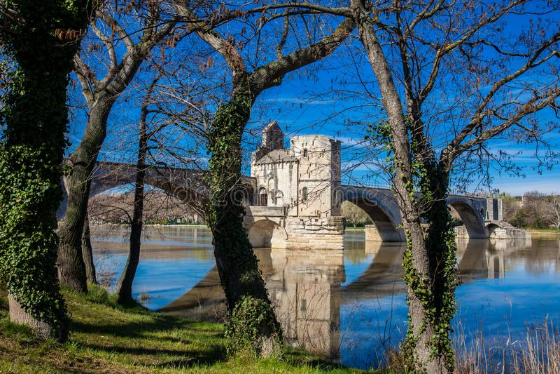 Famous Avignon Bridge also called Pont Saint-Benezet at Avignon royalty free stock image