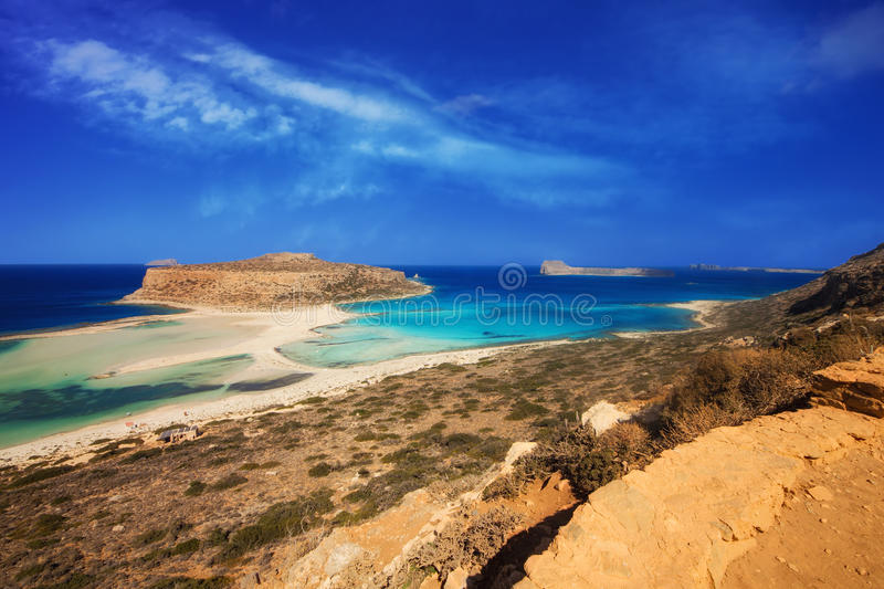 The famous Balos lagoon on Crete island. Greece royalty free stock photos