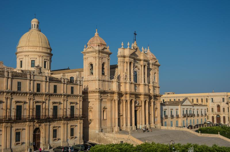 The famous baroque cathedral of Noto in sunset. View from belltower of St. Charles Church. Sicily, Italy stock photo
