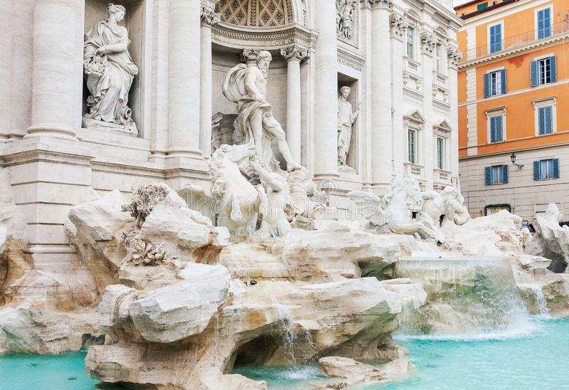 Famous baroqueTrevi fountain in Rome. Trevi fountain in Rome, Italy, famous baroque landmark, daytime picture, no people royalty free stock photography