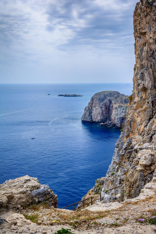 Famous bay at Lindos on the Rhodes Island. St Paul`s bay - Greece royalty free stock photo